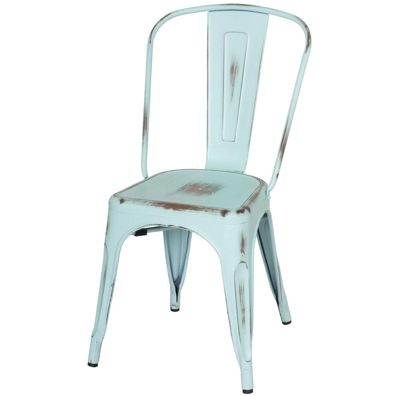 Charmant Metropolis Metal Side Chair, Distressed Aqua/938233 DBL