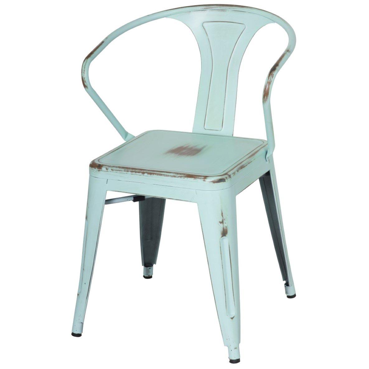 Metropolis Metal Arm Chair, Distressed Blue/938731 DBL