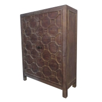Silvestro Distressed Bar Cabinet, Antique Brown/2100003-AB