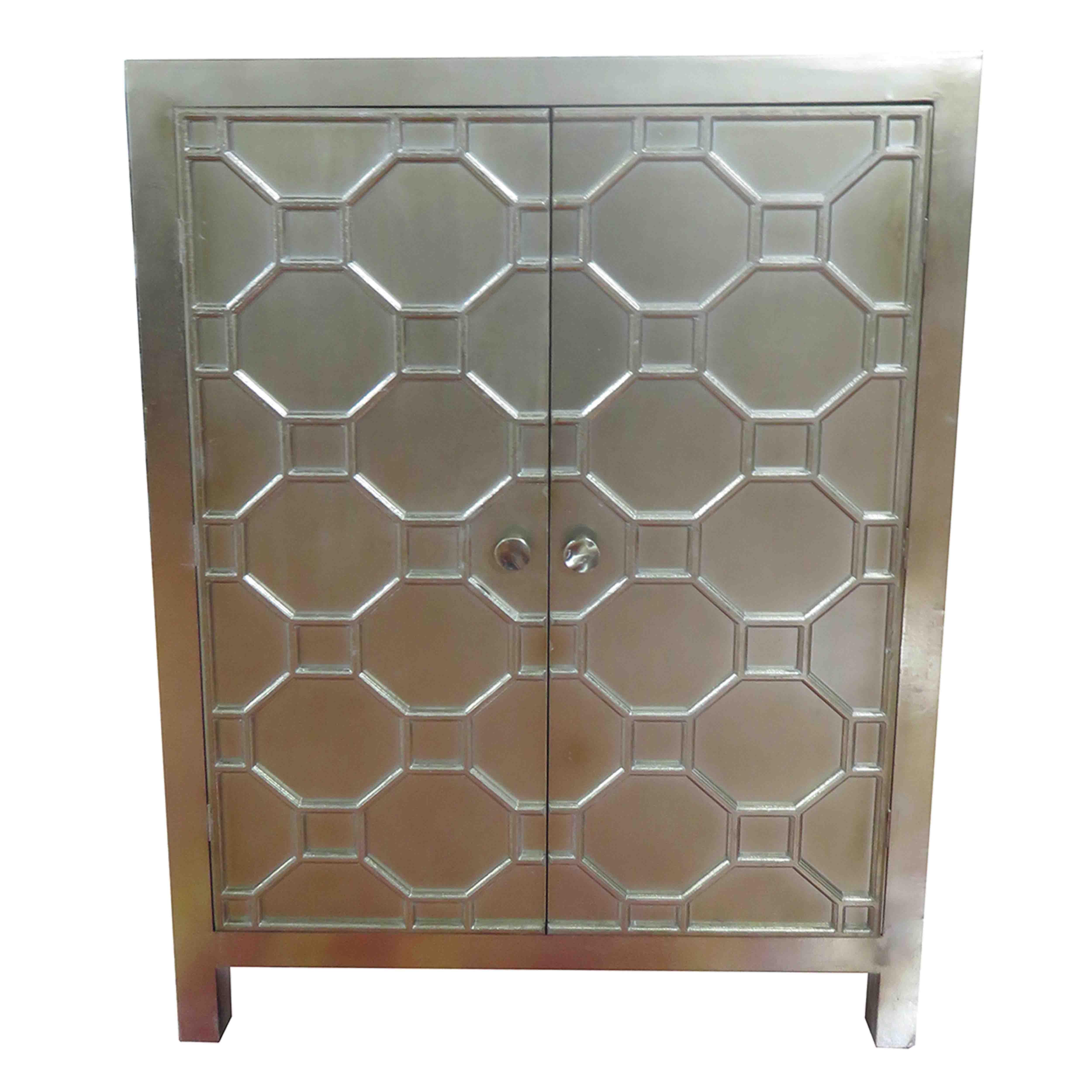 Superb Silvestro Distressed Bar Cabinet, Antique Champagne/2100003 AC