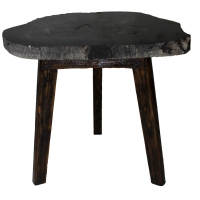 Zandra Petrified Side Table Washed Black Legs, Black/8600002
