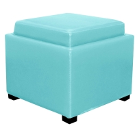 Cameron Square Leather Storage Ottoman w/ tray, Blue/113042-3632
