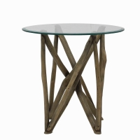 Branch Forest End Table w/Glass Top/7600023-WSG