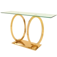 Brielle KD Console Table Glass Top, Rose Gold***CLOSEOUT***/4700003