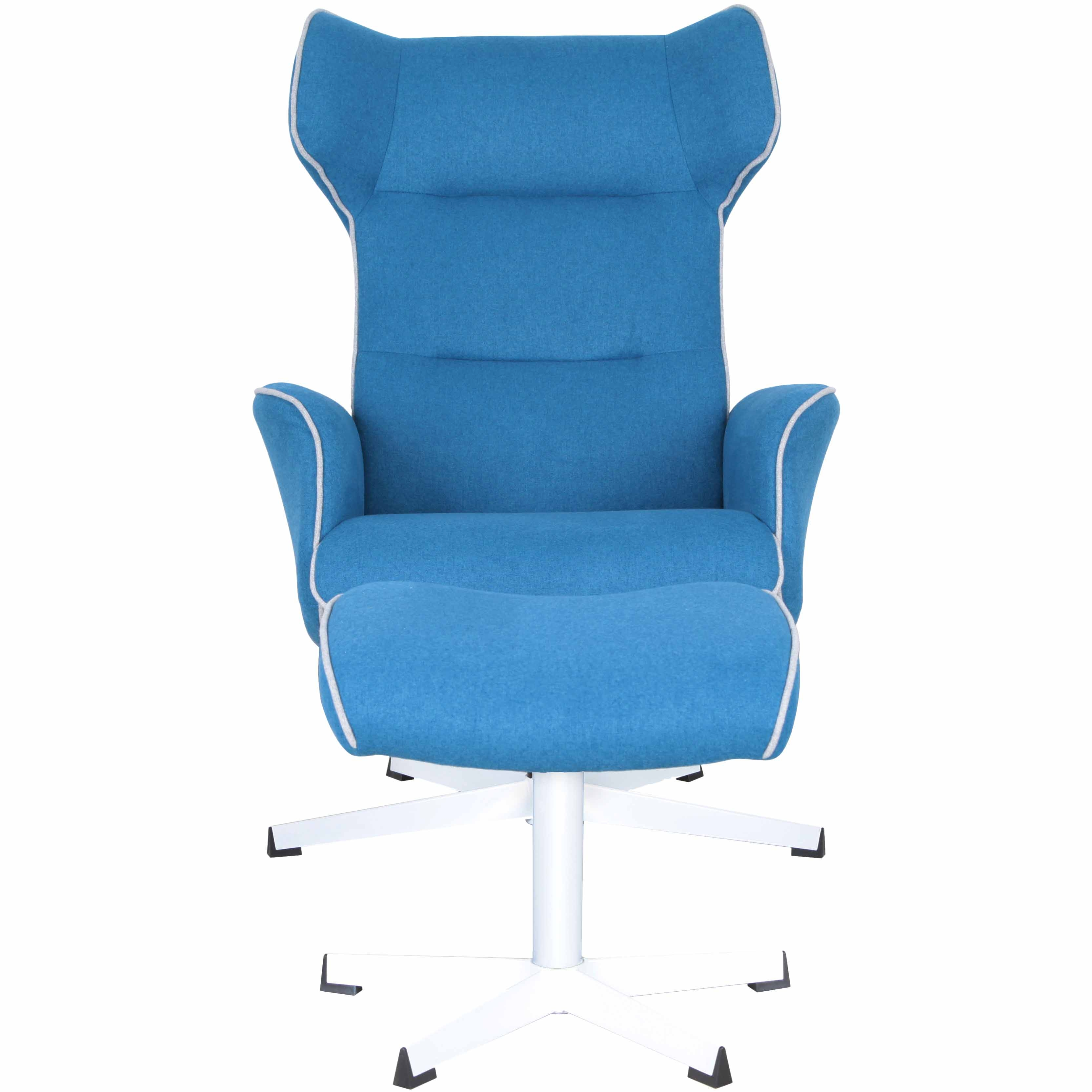 aldric fabric swivel and recliner lounge chair with ottoman white base