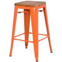 Metropolis Backless Counter Stool Wood Seat, Orange/938627-O