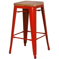 Metropolis Backless Counter Stool  Wood Seat, Red/938627-R