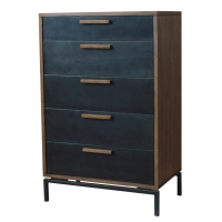 Bellevue Chest 5 Drawers Graphite Metal Legs , Graphite/Natural Mango/2300004
