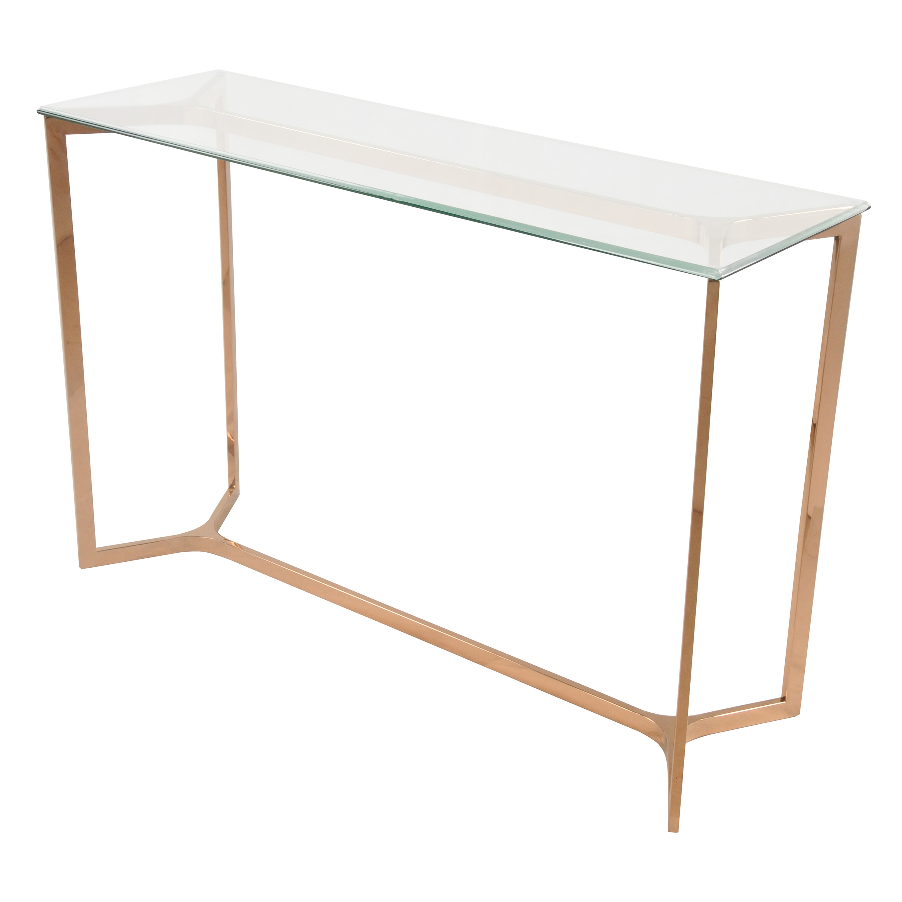 Monza Console Table Glass Top, Rose Gold/6000008 RG