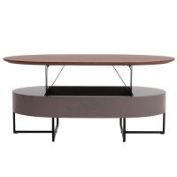 Hansel KD Lift-Top Oval Coffee Table w/ Storage, Walnut/Gray/1030001