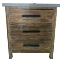 Venezio Small Cabinet 3 Drawers w/ Faux Cement Top, Rustic Brown/2100015