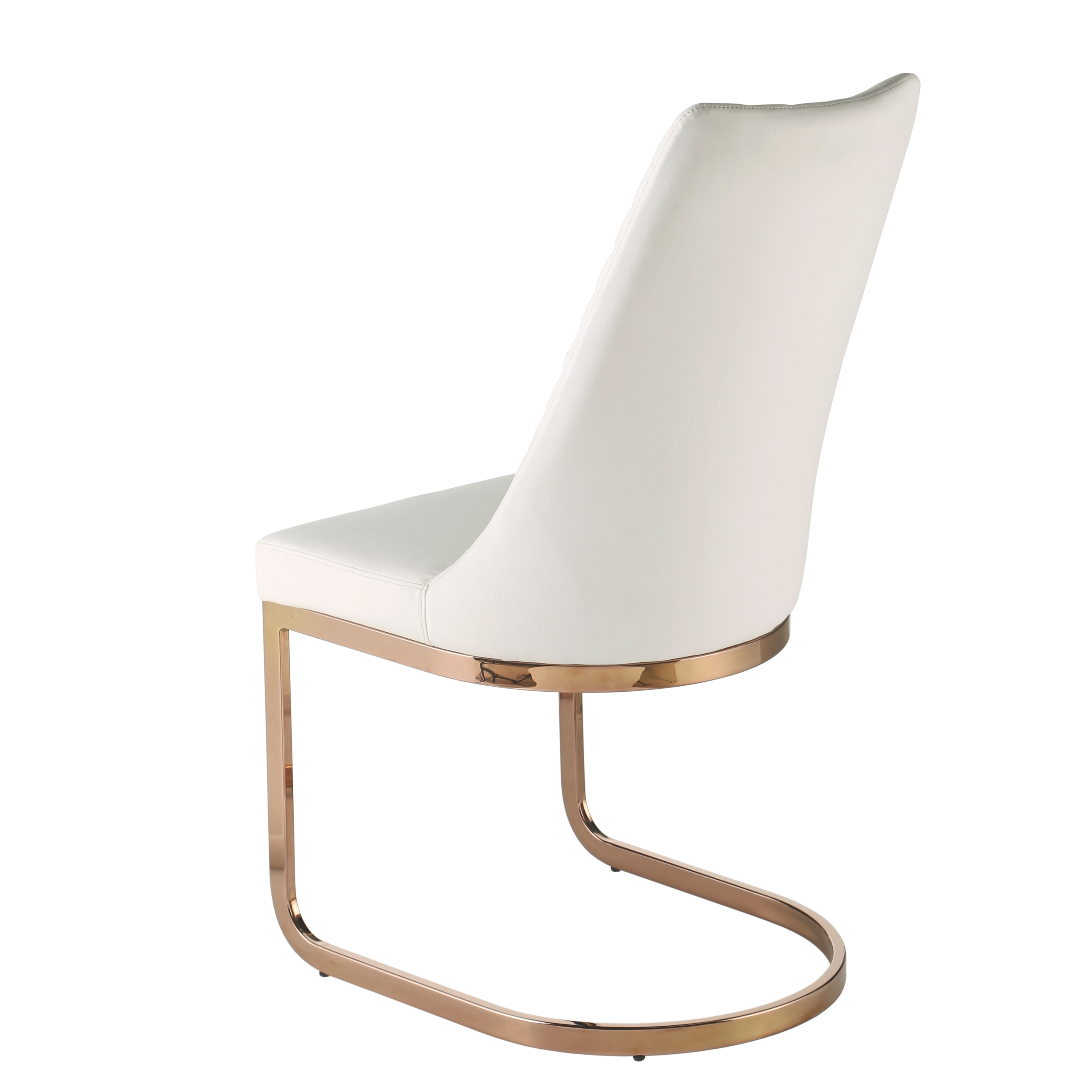 Kyla KD PU Chair Rose Gold Legs, White/3000001 W