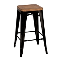 Metropolis Backless Counter Stool Wood Seat,  Black/938627-B