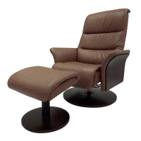 Adam Top Grain Leather Recliner Lounge Chair with Ottoman Wooden Base, Desert Sage/Wenge***CLOSEOUT***/1010001