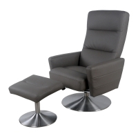 Alben PU Recliner Lounge Chair with Ottoman Stainless Steel Base, Gray Stone***CLOSEOUT***/1010002-199