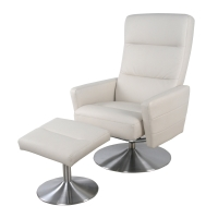 Alben PU Recliner Lounge Chair with Ottoman Stainless Steel Base, Medium Beige/1010002-203