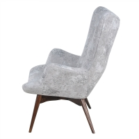 Sadie KD Arm Chair Dark Walnut Legs, Crackle Hematite/413037-214