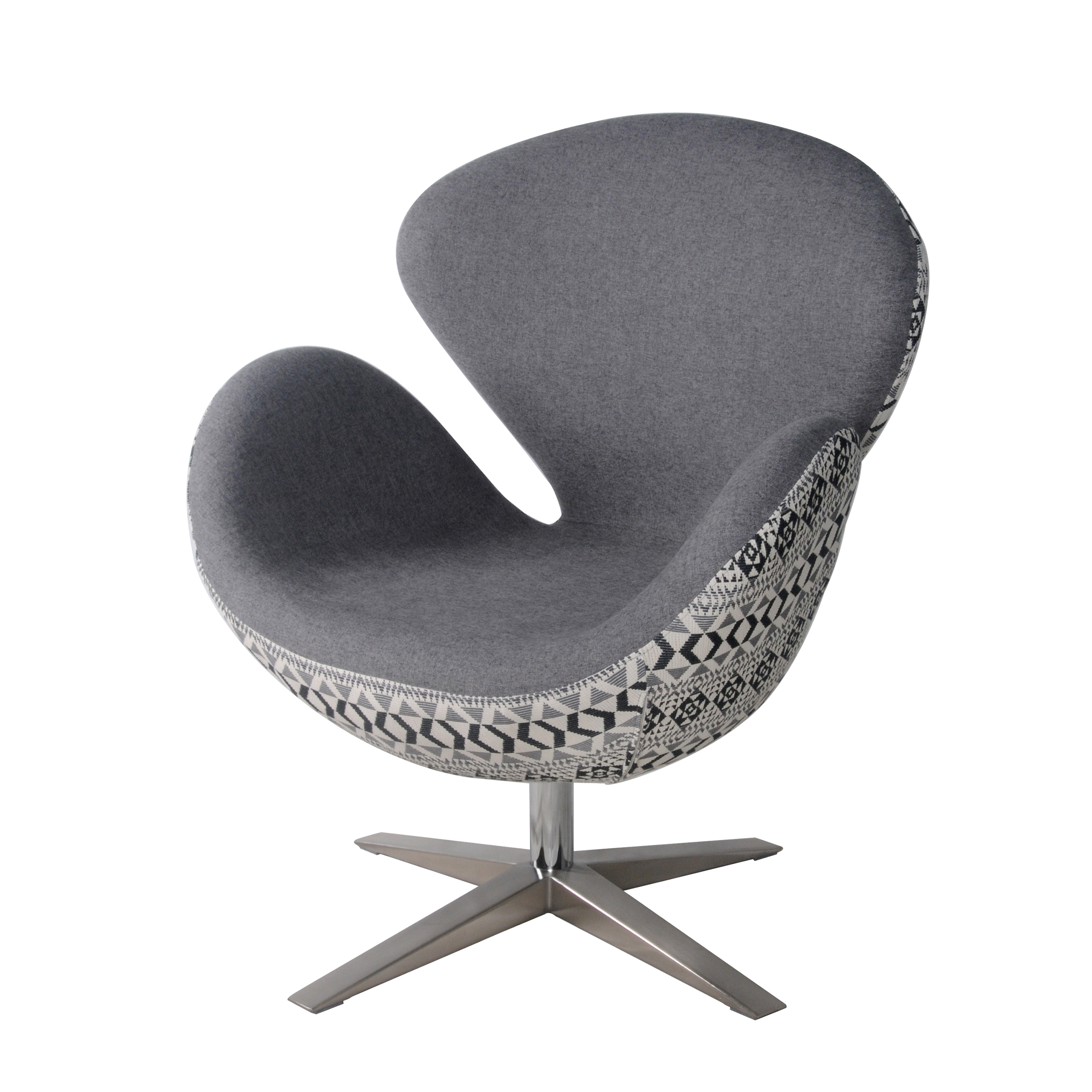 Beckett Fabric Swivel Chair Chrome Legs, Gray Shower/Diamond Art/453035 GSDA