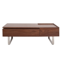 Denzel KD Lift-Top Rectangular Coffee Table w/ Storage and Drawer, Walnut/1030002