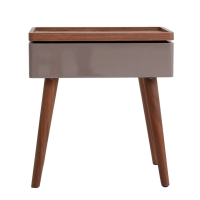 Nesta KD End Table w/ Swivel Opening and Storage, Walnut/Gray/1030003