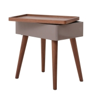Nesta KD End Table w/ Swivel Opening and Storage, Walnut/Gray***CLOSEOUT***/1030003