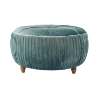 Helena KD Round Ottoman Natural Wood Legs, Emerald/1600007-185