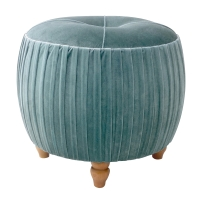 Helena KD Small Round Ottoman Natural Wood Legs, Emerald/1600008-185