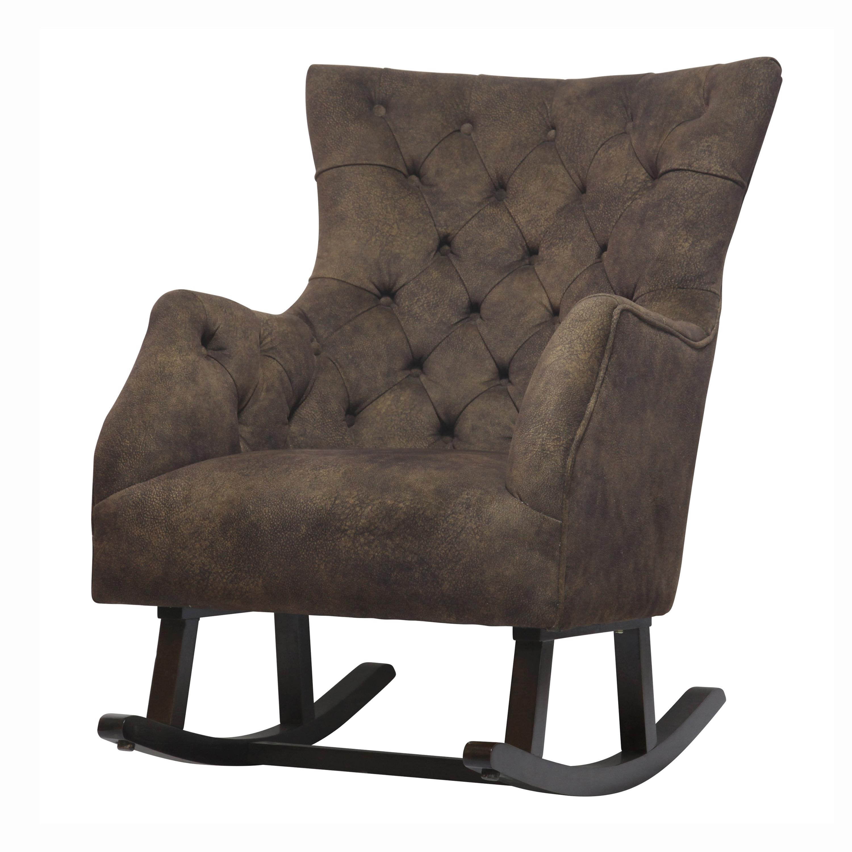 Abigail KD Fabric Tufted Rocking Chair Espresso Legs, Mocha Hide/3900015 150