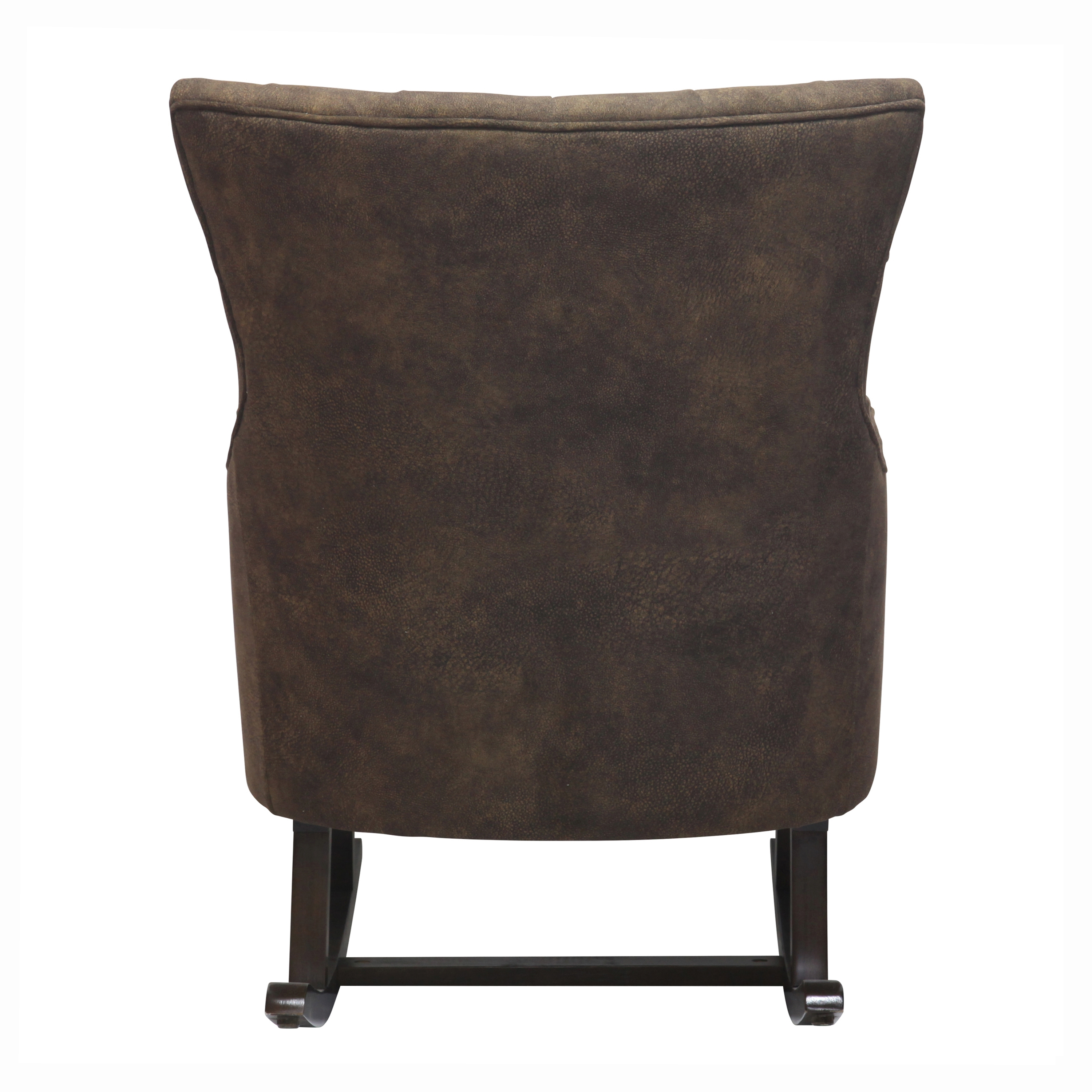 Abigail KD Fabric Tufted Rocking Chair Espresso Legs, Mocha Hide/3900015 150