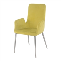 Kenley KD Fabric Arm Dining Chair Brushed Stainless Steel Legs, Citrine/4400039-CI