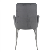 Kenley KD Fabric Arm Dining Chair Brushed Stainless Steel Legs, Nightfall/4400039-NF