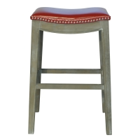 Elmo Bonded Leather Bar Stool Mystique Gray Frame, Red/198631B-67
