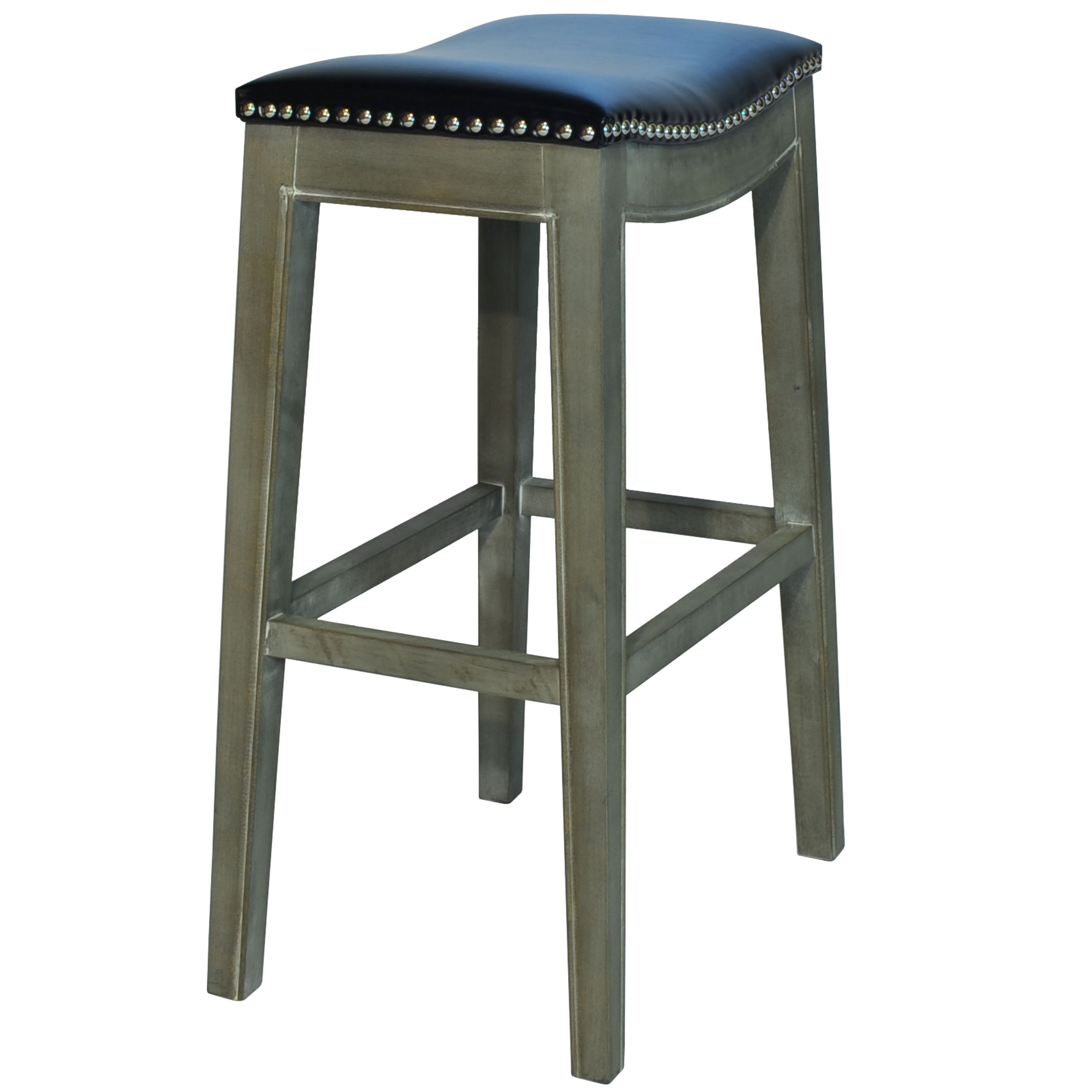 Elmo Bonded Leather Bar Stool Mystique Gray Frame, Black/198631B 23