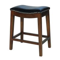 Elmo Bonded Leather Counter Stool, Black/358625B-23