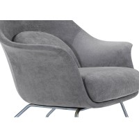 Chiara KD Fabric Accent Chair Brushed Stainless Steel Legs, Moonbeam/1020001-194