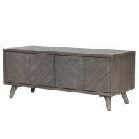 Piero Chevron Low Media Stand, Weathered Gray/7800007-WG