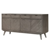Piero Chevron Buffet 4 Drawers + 4 Doors, Weathered Gray/7800011-WG