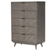 Piero Chevron Chest with 5 Drawers, Weathered Gray/7800021-WG