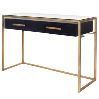 Firenze Floating Console Table 2 Drawers Gold Frame, Espresso/2100028