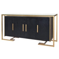 Firenze Floating Sideboard 4 Doors Gold Frame, Espresso/2100029