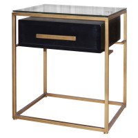 Firenze Floating End Table 1 Drawer Gold Frame, Espresso/2100030