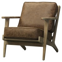 Albert PU Accent Chair Brushed Smoke Frame, Nubuck Chocolate/3900024