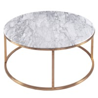 Elon KD Round Coffee Table Marble Top, White/6300036