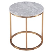Elon KD Round End Table Marble Top, White/6300037