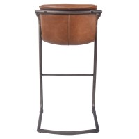 Indy PU Bar Stool w/ Arms Rubbed Gold Frame, Antique Cigar Brown/1060003-215