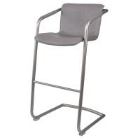 Indy PU Bar Stool w/ Arms Silver Frame, Antique Graphite Gray/1060003-216