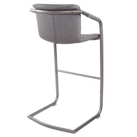 Indy PU Bar Stool Silver Frame, Antique Graphite Gray/1060003-216