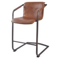 Indy PU Counter Stool Rubbed Gold Frame, Antique Cigar Brown/1060004-215