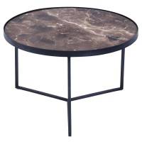 Chandra KD Round End Table Marble Top, Black/4500016