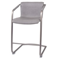 Indy PU Counter Stool Silver Frame, Antique Graphite Gray/1060004-216